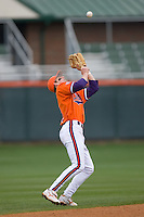 Second baseman Mike Freeman #5 of the Clemson Tigers settles under a pop fly at Doug Kingsmore stadium March 13, 2009 in Clemson, SC. (Photo by Brian Westerholt / Four Seam Images)