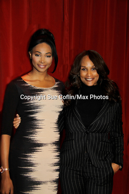 Nana Meriwether (Miss USA 2012) and Super model Beverly Johnson is a panelist at Color of Beauty recognizes stylish people of color with a one-day event featuring topical panel discussions followed later tonght with a red carpet awards ceremony. The event was on February 4, 2014 at New York University, New York City, NY. (Photo by Sue Coflin/Max Photos)