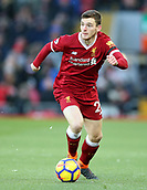 17th March 2018, Anfield, Liverpool, England; EPL Premier League football, Liverpool versus Watford; Andrew Robertson of Liverpool looks up for his team mates as he brings the ball forward as Liverpool attack during the first half