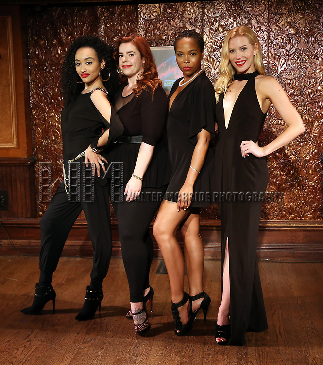 Nicole Vanessa Ortiz, Alysha Umphress, Dionne D. Figgins and Emma Degerstedt attends the photo call for the new production of 'Smokey Joe's Cafe' at Feinstein's/54 Below on June 27, 2018 in New York City.