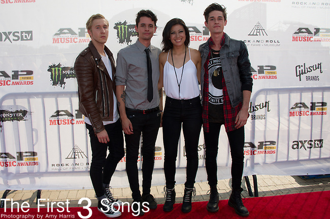 Brian Dales, Stephen Gomez, Josh Montgomery, Jess Bowen, and John Gomez of The Summer Set attend the 2014 AP Music Awards at the Rock And Roll Hall Of Fame and Museum at North Coast Harbor in Cleveland, Ohio.