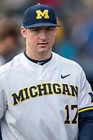Michigan Wolverines pitcher Jeff Criswell (17) during the NCAA baseball game against the Michigan State Spartans on May 7, 2019 at Ray Fisher Stadium in Ann Arbor, Michigan. Michigan defeated Michigan State 7-0. (Andrew Woolley/Four Seam Images)