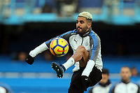 Riyad Mahrez of Leicester city warms up before Chelsea vs Leicester City, Premier League Football at Stamford Bridge on 13th January 2018