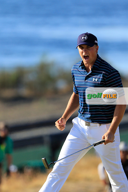 Jordan Speith (USA) sinks his birdie putt on the 16th green during Sunday's Final Round of the 2015 U.S. Open 115th National Championship held at Chambers Bay, Seattle, Washington, USA. 6/22/2015.<br /> Picture: Golffile | Eoin Clarke<br /> <br /> <br /> <br /> <br /> All photo usage must carry mandatory copyright credit (&copy; Golffile | Eoin Clarke)