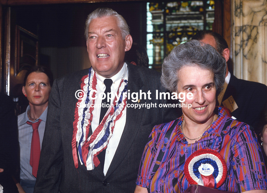 A smiling Rev Ian Paisley, Democratic Unionist Party, after topping the N Ireland poll in the 1984 European Elections. With him is his wife, Eileen Paisley. 19840083IP1..Copyright Image from Victor Patterson, 54 Dorchester Park, Belfast, UK, BT9 6RJ..Tel: +44 28 9066 1296.Mob: +44 7802 353836.Voicemail +44 20 8816 7153.Skype: victorpattersonbelfast.Email: victorpatterson@me.com.Email: victorpatterson@ireland.com (back-up)..IMPORTANT: If you wish to use this image or any other of my images please go to www.victorpatterson.com and click on the Terms & Conditions. Then contact me by email or phone with the reference number(s) of the image(s) concerned.