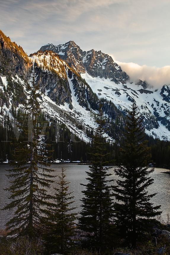 Mount Stuart above Lake Stuart on a stormy day, Alpine Lakes Wilderness, Wenatchee National Forest, near Leavenworth, Chelan County, Washington, USA