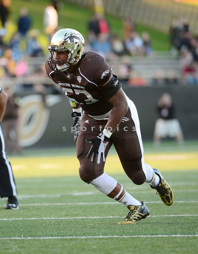 Western Michigan Broncos Nathan Braster (53) during a game against the Murray State Racers on September 19, 2015 at Waldo Stadium in Kalamazoo, MI. Western Michigan beat Murray State 52-20