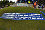 Rangers fans banner at Brechin with a message for all.