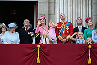 HM Queen Elizabeth II &amp; Prince Philip, Duke of Edinburgh; Catherine, Duchess of Cambridge; Princess Charlotte; Prince George &amp; Prince William, Duke of Cambridge &amp; members of the royal family on the balcony of Buckingham Palace following the Trooping of the Colour Ceremony celebrating the Queen's official birthday. London, UK. <br /> 17 June  2017<br /> Picture: Steve Vas/Featureflash/SilverHub 0208 004 5359 sales@silverhubmedia.com