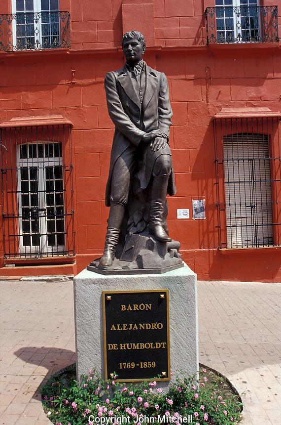 Statue of 19th-century German explorer and naturalist Friedrich Heinrich Alexander von Humboldt in Cuernavaca, Morelos, Mexico