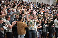 Oxy fans cheer. The Occidental College men's basketball team plays against Pomona-Pitzer in the SCIAC Tournament Championship on Saturday, Feb. 23, 2019 in Claremont. Oxy lost, 68-45.<br /> Oxy finishes with its best overall record since 2007-08 at 22-5 overall, and went 12-4 in SCIAC play for the second season in a row.<br /> (Photo by Marc Campos, Occidental College Photographer)