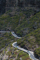 Traffic along winding mountain road Masca, Tenerife, Canary Islands.