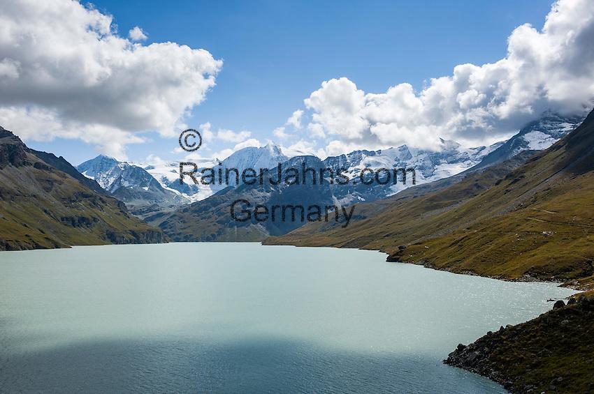 Switzerland, Canton Valais, Val d'Hérémence: reservoir Lac des Dix (2.364 m), at background summit Sex Quinaudoz (3.209 m)   Schweiz, Kanton Wallis, Val d'Hérémence:  der Stausee Lac des Dix (2.364 m), im Hintergrund der Sex Quinaudoz (3.209 m)