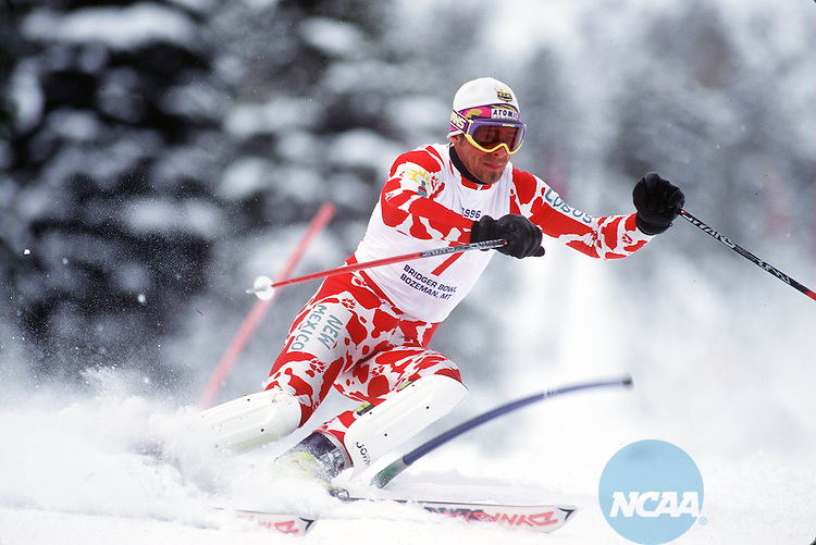 Caption: Jimmy Renstroem of the University of New Mexico goes for a second place finish at the NCAA Skiing Championships, March 8, 1996, in Bozeman, MT. Michael Gallacher/NCAA Photos