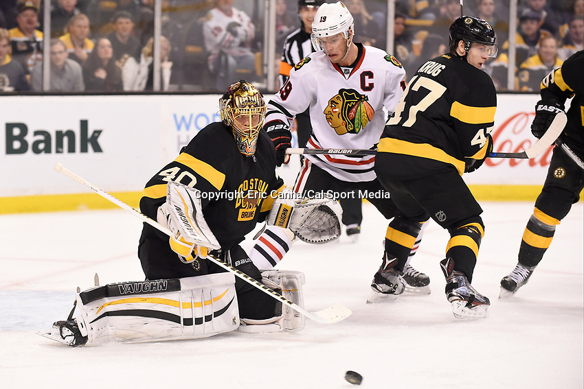 Thursday, March 3, 2016: Boston Bruins goalie Tuukka Rask (40) makes a save during the National Hockey League game between the Chicago Blackhawks and the Boston Bruins, held at TD Garden, in Boston, Massachusetts. Boston defeated Chicago 4-2. Eric Canha/CSM