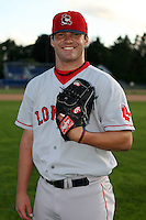 September 10 2008:  Pitcher Alex Hale of the Lowell Spinners, Class-A affiliate of the Boston Red Sox, poses for a photo before a game at Dwyer Stadium in Batavia, NY.  Photo by:  Mike Janes/Four Seam Images