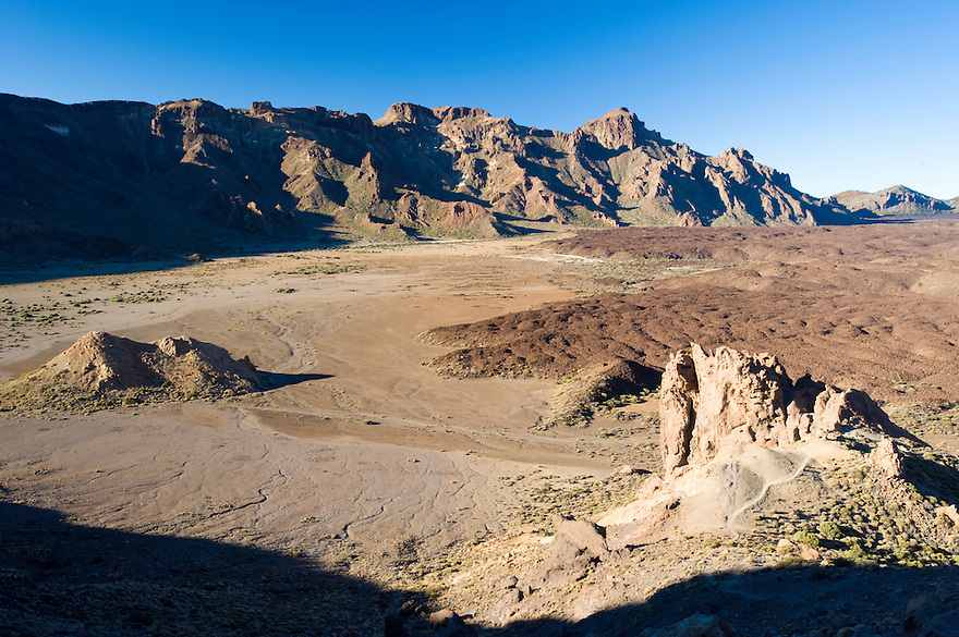 "The ""Llanos de Udanca"" (The Udanca plains) and the ""Cañadas"" in the South of the ""Roques de Garcia"", Teide National Park, Tenerife Island, Canary Islands, Spain."