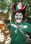11 June 2006: A Mexico fan with a president Vicente Fox mask. Mexico played Iran at the Frankenstadion in Nuremberg, Germany in match 7, a Group D first round game, of the 2006 FIFA World Cup.
