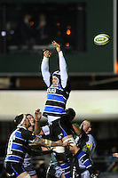 Dave Attwood of Bath Rugby is unable to reach the lineout ball during the LV= Cup semi final match between Bath Rugby and Leicester Tigers at The Recreation Ground, Bath (Photo by Rob Munro, Fotosports International)