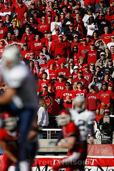 fans. BYU wins with no time on the clock. Salt Lake City - Utah vs. BYU college football at Rice-Eccles Stadium.<br />