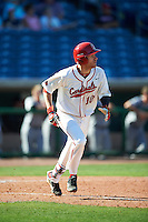 Ball State Cardinals Sean Kennedy (10) runs to first base during a game against the Louisville Cardinals on February 19, 2017 at Spectrum Field in Clearwater, Florida.  Louisville defeated Ball State 10-4.  (Mike Janes/Four Seam Images)