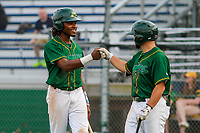 Beloit Snappers outfielder JaVon Shelby (5) and second baseman Nate Mondou (10) during a Midwest League game against the Peoria Chiefs on April 15, 2017 at Pohlman Field in Beloit, Wisconsin.  Beloit defeated Peoria 12-0. (Brad Krause/Four Seam Images)