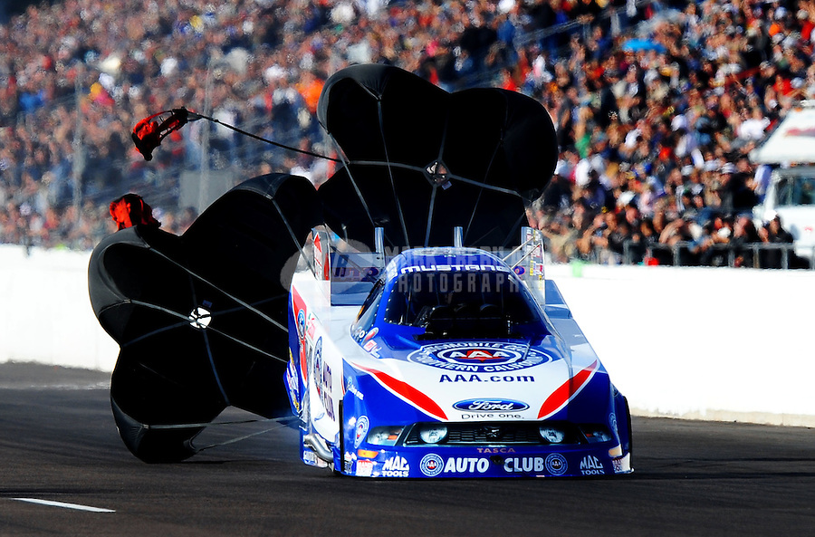 Feb. 20, 2010; Chandler, AZ, USA; NHRA funny car driver Robert Hight during qualifying for the Arizona Nationals at Firebird International Raceway. Mandatory Credit: Mark J. Rebilas-