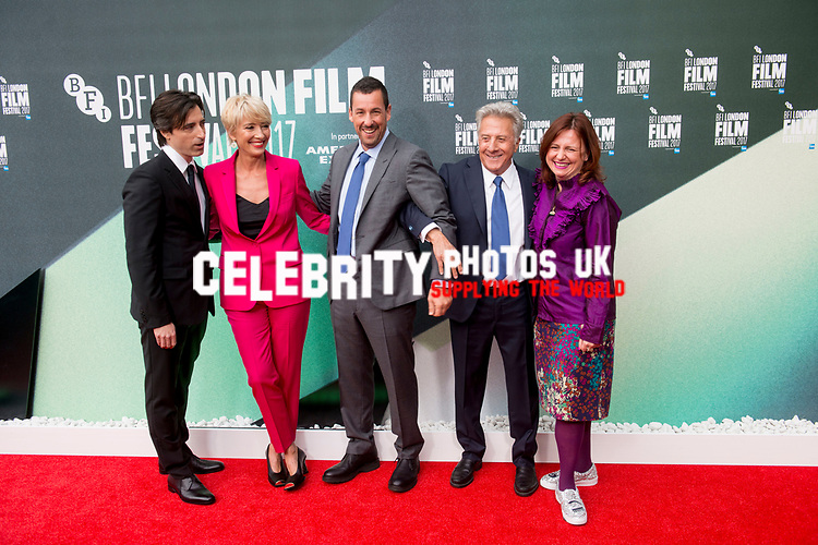 Noah Baumbach, Emma Thompson, Adam Sandler, Dustin Hoffman, Claire Stewart at the 'The Meyerowitz Stories' premiere, BFI London Film Festival, UK  6th Oct 2017
