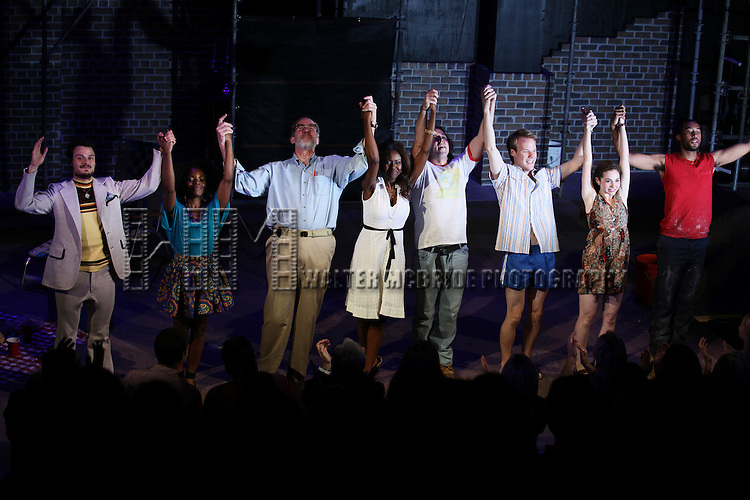 Lee Osorio, Marsha Stephanie Blake, Nick Wyman, Shamika Cotton, Brandon Coffey, David Coomber, Shannon Garland, Tyler Jacob Rollinson   during the Opening Night Performance Curtain Call for 'Bullet For Adolf' at the New World Stages in New York City on 8/8/2012.