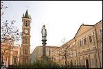 Il Collegio Salesiano e la Chiesa Parrocchiale in Piazza Albert a Lanzo.