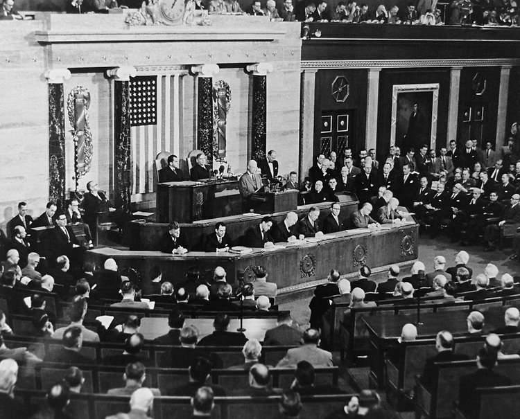 President Dwight D. Eisenhower give 1954 State of Union Address house of Chamber, on Jan. 7, 1954. (Photo by CQ Roll Call via Getty Images)