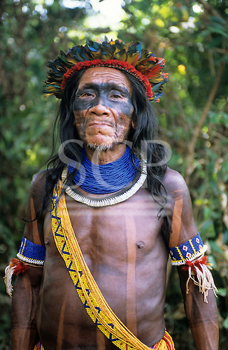 Bacaja village, Amazon, Brazil. An elder in the forest; Xicrin tribe, Para State.