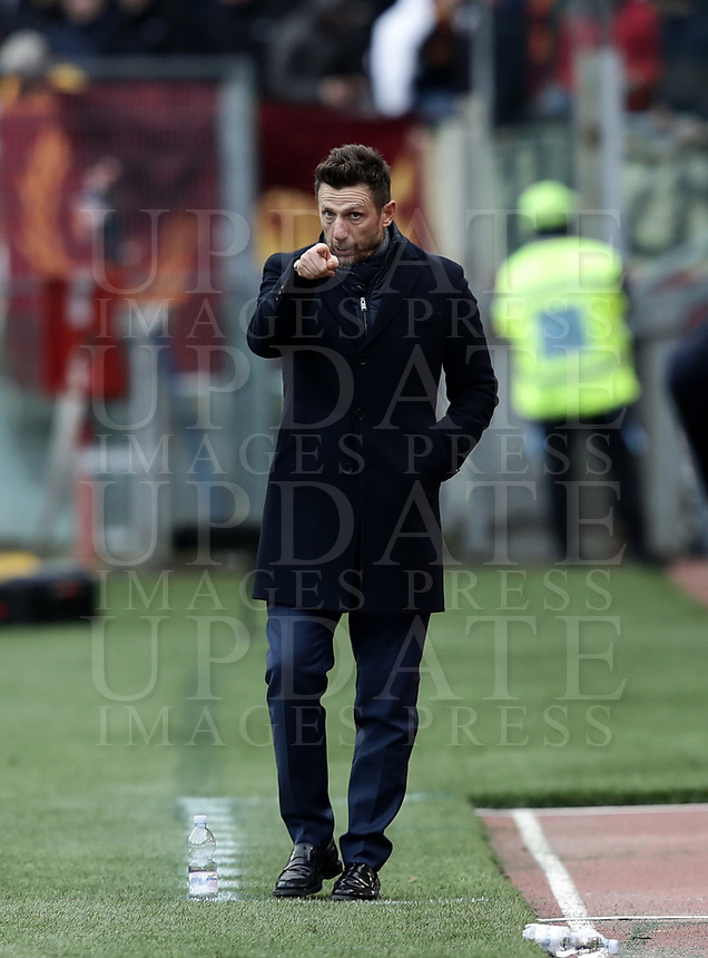 Football, Serie A: AS Roma - Torino, Olympic stadium, Rome, January 19, 2019. <br /> Roma's coach Eusebio Di Francesco gestures during the Italian Serie A football match between AS Roma and Torino at Olympic stadium in Rome, on January 19, 2019.<br /> UPDATE IMAGES PRESS/Isabella Bonotto
