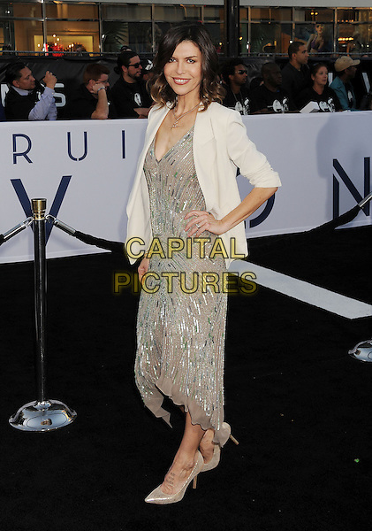 "Finola Hughes.""Oblivion"" Los Angeles Premiere held at the Dolby Theatre, Hollywood, California, USA..April 10th, 2013.full length white silver sequins sequined dress hand on hip .CAP/ROT/TM.©Tony Michaels/Roth Stock/Capital Pictures"
