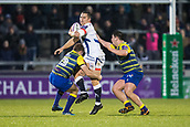 9th December 2017, AJ Bell Stadium, Salford, England; European Rugby Challenge Cup, Sale Sharks versus Cardiff Blues; Sale Sharks' Rohan Janse Van Rensburg is tackled by Cardiff Blues' Garyn Smith