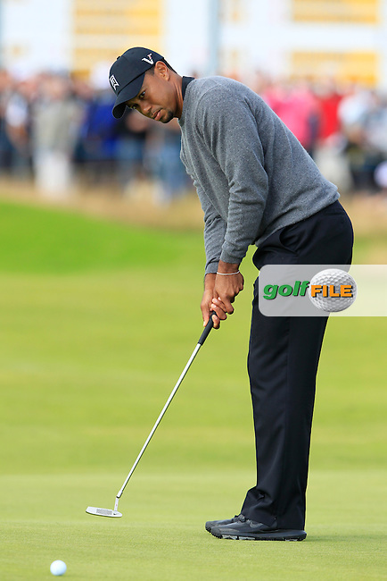 Tiger Woods (USA) takes his putt on the 13th green during Friday's Round 2 of the 141st Open Championship at Royal Lytham & St.Annes, England 20th July 2012 (Photo Eoin Clarke/www.golffile.ie)