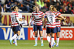 20 October 2012: Abby Wambach (USA) (14) encourages her teammates during a stoppage. The United States Women's National Team played the Germany Women's National Team at Toyota Park in Bridgeview, Illinois in a women's international friendly soccer match. The game ended in a 1-1 tie.