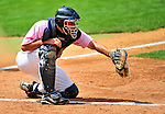 """18 July 2010: Vermont Lake Monsters catcher David Freitas in action against the Staten Island Yankees at Centennial Field in Burlington, Vermont. The Lake Monsters, dressed in their Breast Cancer Awareness """"Pinks"""", fell to the Yankees 9-5 in NY Penn League action. Mandatory Credit: Ed Wolfstein Photo"""