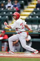 Palm Beach Cardinals third baseman Breyvic Valera (32) during a game against the Bradenton Marauders on April 8, 2014 at McKechnie Field in Bradenton, Florida.  Bradenton defeated Palm Beach 4-3.  (Mike Janes/Four Seam Images)