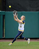 Michigan Wolverines outfielder Kelly Christner (21) during warmups before the season opener against the Florida Gators on February 8, 2014 at the USF Softball Stadium in Tampa, Florida.  Florida defeated Michigan 9-4 in extra innings.  (Copyright Mike Janes Photography)