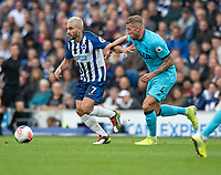 Brighton & Hove Albion's Neal Maupay under pressure from Tottenham Hotspur's Toby Alderweireld<br /> <br /> Photographer David Horton/CameraSport<br /> <br /> The Premier League - Brighton and Hove Albion v Tottenham Hotspur - Saturday 5th October 2019 - The Amex Stadium - Brighton<br /> <br /> World Copyright © 2019 CameraSport. All rights reserved. 43 Linden Ave. Countesthorpe. Leicester. England. LE8 5PG - Tel: +44 (0) 116 277 4147 - admin@camerasport.com - www.camerasport.com