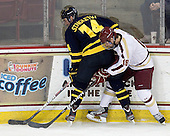 Kyle Singleton (Merrimack - 14), Michael Sit (BC - 18) - The visiting Merrimack College Warriors tied the Boston College Eagles at 2 on Sunday, January 8, 2011, at Kelley Rink/Conte Forum in Chestnut Hill, Massachusetts.