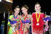 (L-R) Adele Galina RUS (silver), Valeria Tkachenko RUS (gold), Nataliya Leshchyk BLR (bronze) are junior All-Around winners at World Cup Montreal on January 29, 2010.  (Photo by Tom Theobald).