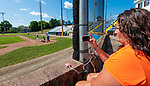 TORRINGTON,  CT-072419JS20--Anita Warren, the wife of Wolcott Storm coach Bob Warren, takes video of the team as they play CC Armour of Colorado in their Mickey Mantle World Series game Wednesday at Fuessenich Park in Torrington. <br />  Jim Shannon Republican American