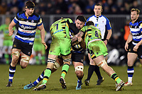 Elliott Stooke of Bath Rugby takes on the Northampton Saints defence. Aviva Premiership match, between Bath Rugby and Northampton Saints on February 9, 2018 at the Recreation Ground in Bath, England. Photo by: Patrick Khachfe / Onside Images