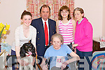 BIG BIRTHDAY: On Thursday evening in The Riverside Nursing Home, Abbeydorney, the family of Margaret met up with her to celebrate her 80th Birthday including the family dog Lilly. L-r: Jessica Hamilton, Lilly the family dog, Margaret Hamliton (birthday lady), Gerald Browne, Lucinda-Jayne Hamiltone Browne, and Margaret Hamilton Browne.....