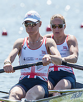 Brandenburg. GERMANY. GBR W2-. Bow. Helen GLOVER and Heather STANNING.<br /> 2016 European Rowing Championships at the Regattastrecke Beetzsee<br /> <br /> Friday  06/05/2016<br /> <br /> [Mandatory Credit; Peter SPURRIER/Intersport-images]