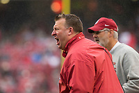 Hawgs Illustrated/BEN GOFF <br /> Bret Bielema, Arkansas head coach, in the second quarter against Mississippi State Saturday, Nov. 18, 2017, at Reynolds Razorback Stadium in Fayetteville.