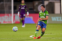 10th July 2020, Orlando, Florida, USA;  Seattle Sounders defender Gustav Svensson (4) passes the ball during the soccer match between the Seattle Sounders and the San Jose Earthquakes on July 10, 2020, at ESPN Wide World of Sports Complex in Orlando, FL.