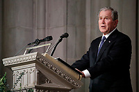 Former President George W. Bush speaks during the State Funeral for his father, former President George H.W. Bush, at the National Cathedral, Wednesday, Dec. 5, 2018, in Washington. <br /> CAP/MPI/RS<br /> &copy;RS/MPI/Capital Pictures